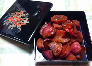 富山県「報恩講料理 五箇山赤カブの煮付け」JAなんと女性部