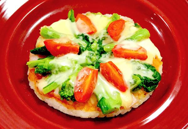 フライパンで作るナバナのライスピザ