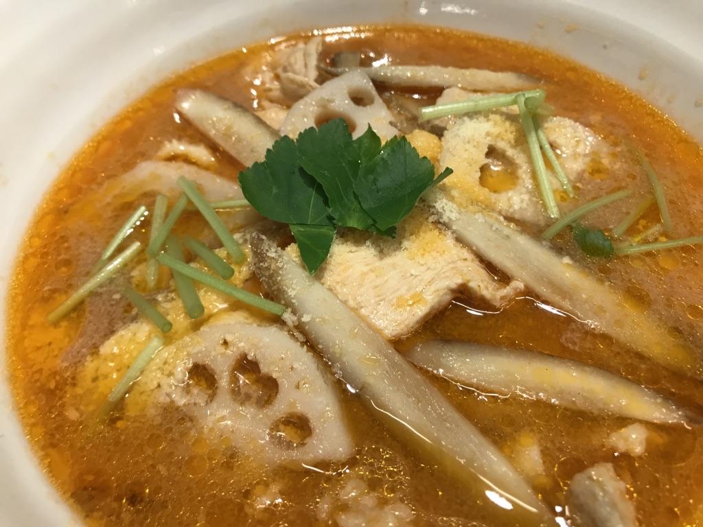 山口の伝統野菜たっぷり、トマト風味スープ
