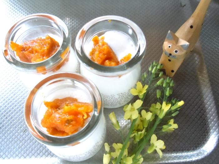 かぼちゃとオレンジの簡単ミニプリン
