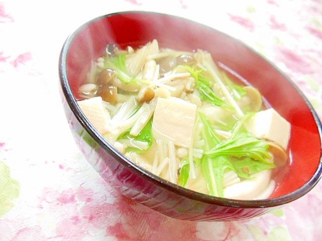 ❤エノキとシメジと豆腐と水菜の和風スープ❤