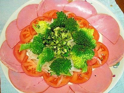 ❤ 大根葉入り! ハム&トマト&新玉のサラダ ❤