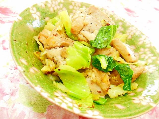 ❤キャベツと小松菜と鶏もも肉のほんだし炒め❤